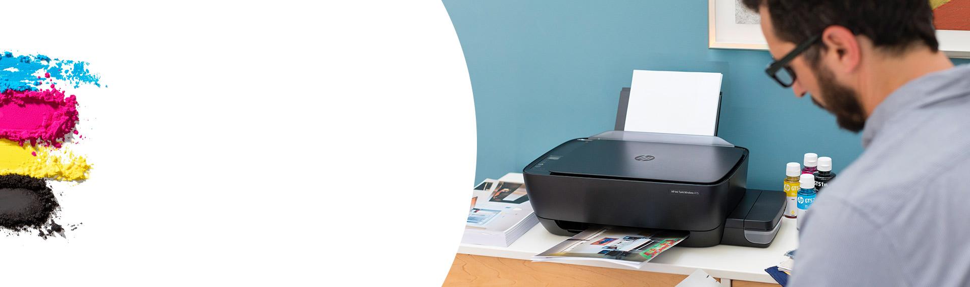 HP INK TANK. Tecnología para restablecer los niveles de tinta. Rellene fácilmente su sistema de tanque de tinta con botellas resellables que no se derraman.